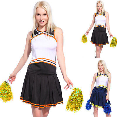 Cheerleader Fancy Dress High School Sports Outfit Uniform Cosume + Pompoms Panty