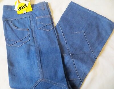 Vintage 70s Denim Bell Bottoms Jeans Quilted NWT Dead Stock Girls Slim Cut 12