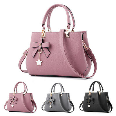 Women Fashion Handbag Shoulder Zip Bag Bowknot Messenger Large Tote Ladies Purse