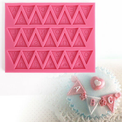 Bunting Alphabet Letter Flexible Silicone Mould Cake Toppers Fimo Sugarpaste