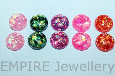 10 x Mixed Colours Bright Foil Resin Flatback 12x12mm Cabochon Cameo