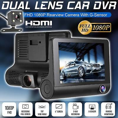 "HD Car DVR 1080P 4"" Dual Lens Rearview Video Dash Cam Recorder Camera G-sensor"
