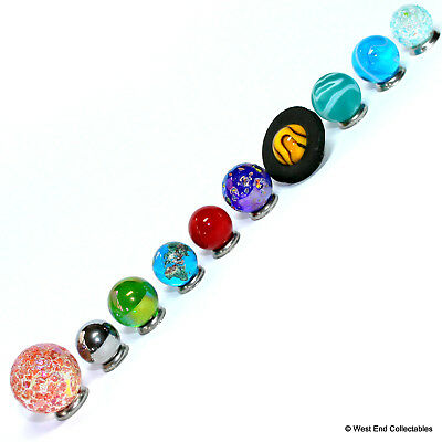 Mini Solar System Marble Set - 14-22mm Orrery Globe Planet Glass Marbles -Earth