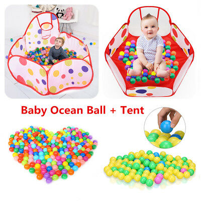 4/4.5cm 100x Colorful Ball Plastic Ocean Ball + Tent Baby Kid Swim Pool Pit Toy