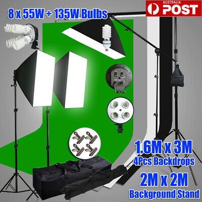 Photo Studio Softbox Boom Arm Continuous Lighting 3 Backdrop Support Stand Kit
