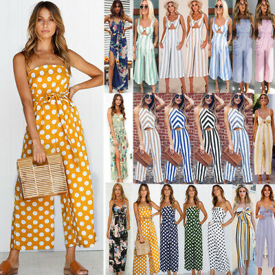 UK Womens Striped Playsuit Long Jumpsuit Strappy Wide Leg Pants Culottes Romper