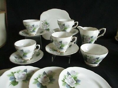 Vintage pretty delicate rose Royal Sutherland English Bone china tea set for 4