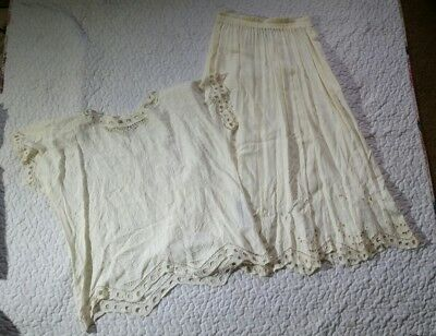Vintage Jane Ashley Medium Rayon Solid White Lace Outfit Blouse Maxi Skirt Hippy