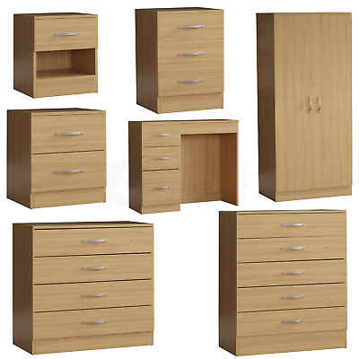 Riano Chest Of Drawers Bedside Cabinet Dressing Table Wardrobe Bedroom Pine