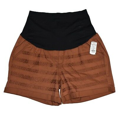 A GLOW Maternity Comfort Shorts Women's Size 16 MAT Orange Embroidered 4 Pockets