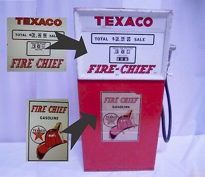 Texaco Fire-Chief Gasoline Pump DECALS Only Top and Bottom decal included