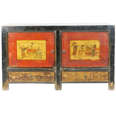 """Antique Mongolian Chinese Rustic 2 Door Painted Sideboard Cabinet 53"""" long"""