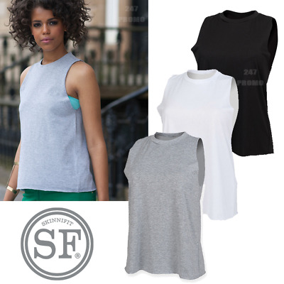 Sf Women's High Neck Vest Fashion Top Gym Summer Ribbed Sleeveless Loose Fit Tee