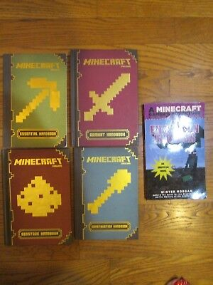 Lot of 5 (#1-4) MINECRAFT HANDBOOKS Complete Series Matched Set Mixed Lot Books