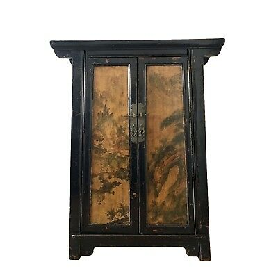 Antique Chinese Lacquered Two Door Medium Side Cabinet