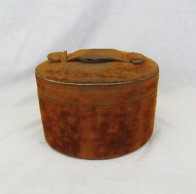 Turn of the Century collar Box brown velvet round case container with collar