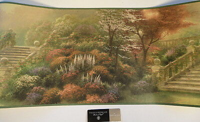 Thomas Kinkade Imperial Large Wide Wall Border Garden Steps Stone Wall 5 Yards