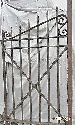 Antique Cast Iron Victorian Gate  Ornate Garden Fence With Makers Plate Fenials