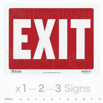 "EXIT Sign •  Door Signs Store Office Shop Safety — Red + White 9x12"" inch PVC"