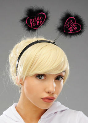 Black Heart Shaped Bride To Be  Head Boppers ( Hen Night ) Smiffys