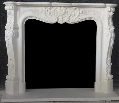 Hand Carved Marble French Mantle – Extra Tall – Extra Deep Carving Design