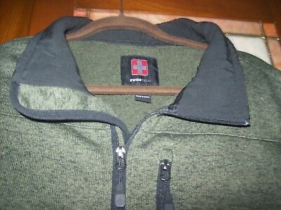 SWISS TECH Olive Heather Zip Front Thick Ribbed Knit Jacket Men's Size M (38-40)