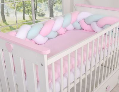 BABY NURSERY CRIB COT BUMPER COT or COT BED/ KNOT BUMPER BRAIDED / PLAIT