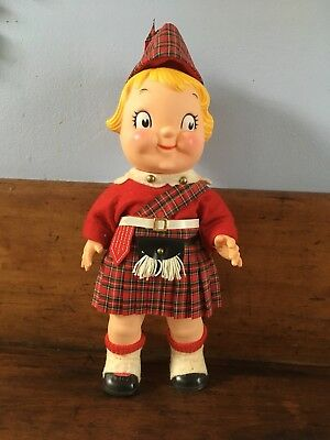 Vintage Campbell's Soup Kid Scottish Boy Jointed Doll Tartan Plaid Clothes Tam