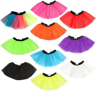 LADIES NEON TUTU SKIRT 3 LAYERS UV 1980S FANCY DRESS HEN PARTY 80s COSTUME DANCE