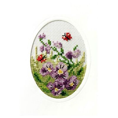 Cross Stitch Kit - Greeting Card - Pansies - Orchidea - ORC.6096