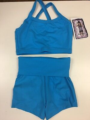 Lexi Luu Girl's M/ Solid Turquoise Crop Top W/ Fold Over Shorts