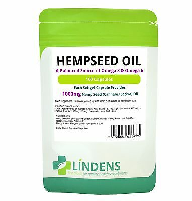 Hemp Seed Oil High Strength 1000mg -100 Capsules Omega 3 6 LINDENS