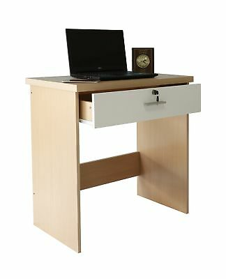 Absolute Deal Computer Desk with Key Lock Drawer for Home Office, Wood, Beech...