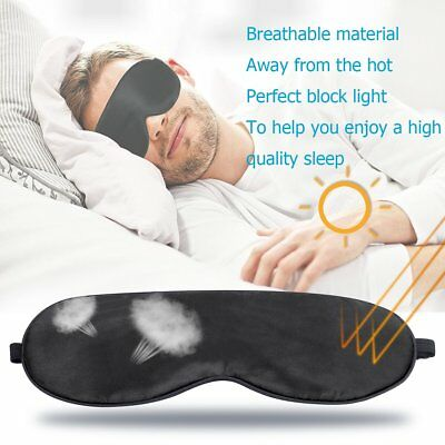 3D Black Sleeping Eye Mask Natural Silk Adjustable Eye Shade Cover Mask Relax