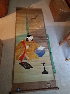Vintage / Antique JAPANESE HANGING SCROLL : Woman writing / drawing