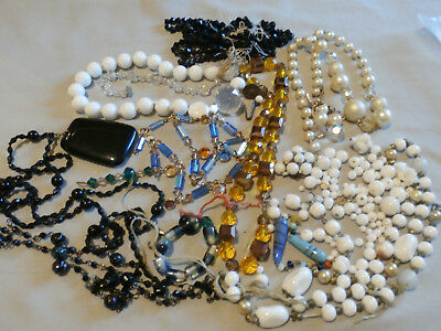 Vintage Antique Glass Bead Lot Necklaces Cut Crystal Faceted For Craft Repair B