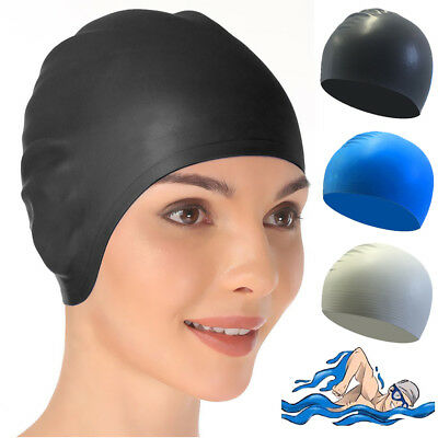 Swimming Cap Waterproof Silicone Swim Pool Hat for Adult Men Long Hair Women JF