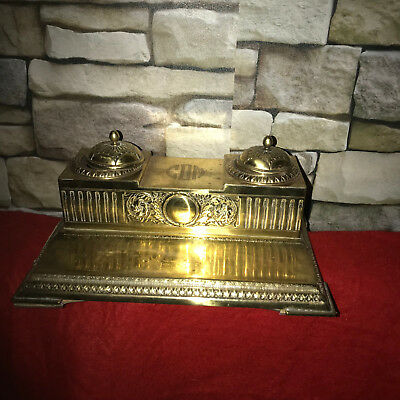 Antique Vintage Victorian Style Double Dommed  Ornate Brass Ink well