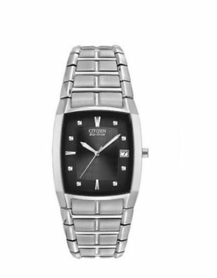 NEW Citizen Eco Drive BM6550-58E Men's black dial stainless steel dress watch