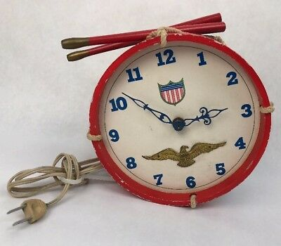 TELECHRON IRMI WOODEN DRUM ELECTRIC WALL CLOCK 1950s EAGLE PATRIOTIC USA