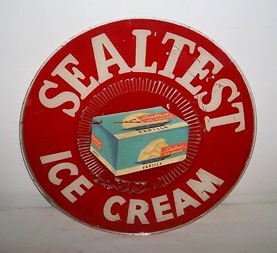 "Sealtest Ice Cream Glass Advertising Sign - SILKSCREENED PAINT - 14-7/8"" Dia"