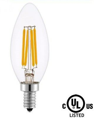 (Lot/5) LED Candelabra Light Bulbs-U.L.4W-E12-120V-2700K-Dimmable-Torpedo-Clear