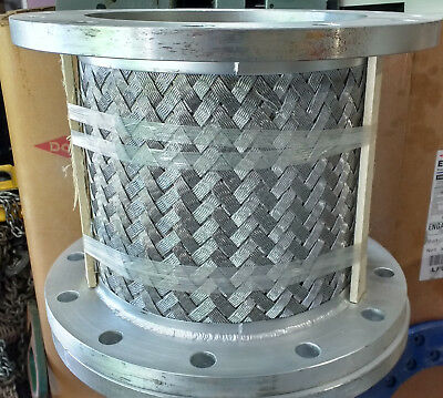 "Stainless Steel Flanged Expansion Joint, 12"" Diameter, 14"" Long, Braided Sheath"