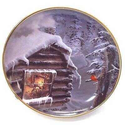 Collector Plate Through the Cabin Window Cardinal Winter Vtg Franklin Mint