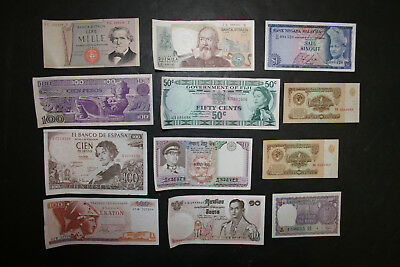 Lot of 11 Circulated Foreign Banknotes Paper Money World Currency