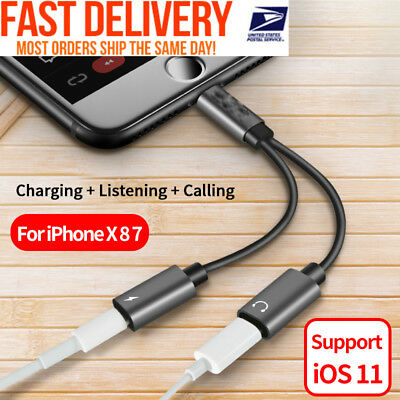 2in1 Dual Lightning Adapter Charging Splitter Audio Cable iPhone 7 8 X Plus C#43