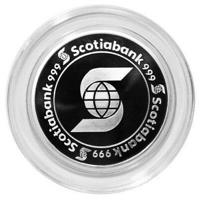 STUNNING! 5 oz Scotiabank Silver Round **In Capsule** NEW OLD STOCK