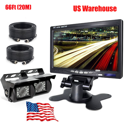 """7"""" LCD MONITOR BACKUP REAR SIDE VIEW REVERSE CAMERA SYSTEM FOR AG, TRUCK, RV Bus"""