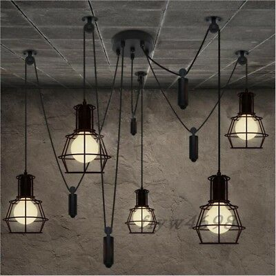 Nordic Loft Edison Bulb Chandelier Retro E27 Ceiling Spider Pendants Adjustable