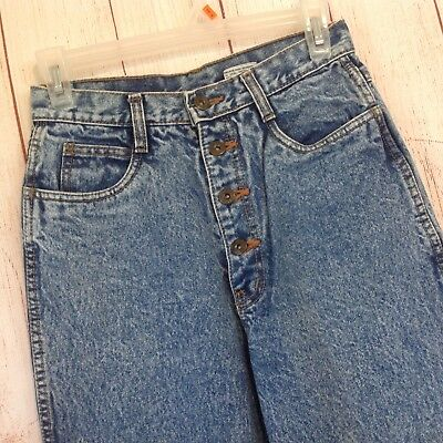Vintage 90s Rio Jeans Button Fly Tapered Leg Stonewashed High Waisted Mom Jeans